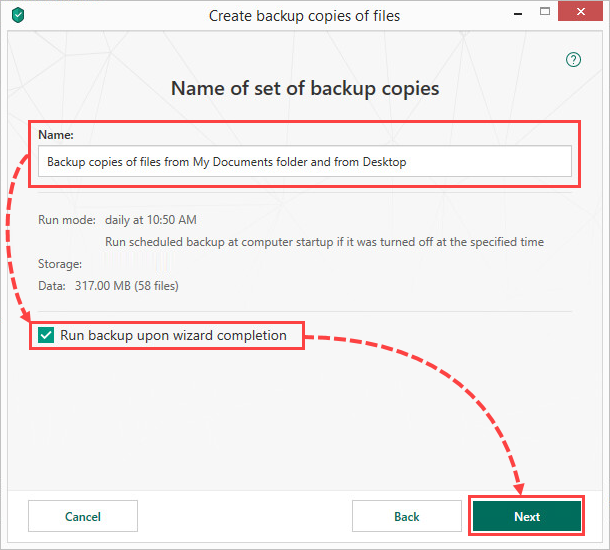 Running a backup in Kaspersky Security Cloud 19