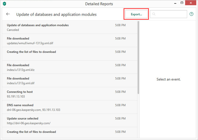 Saving a detailed report in Kaspersky Security Cloud 19