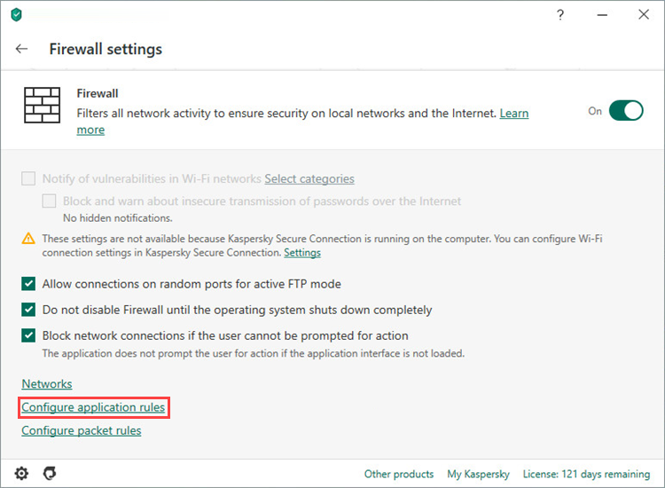 Opening application rules settings of Kaspersky Internet Security 20