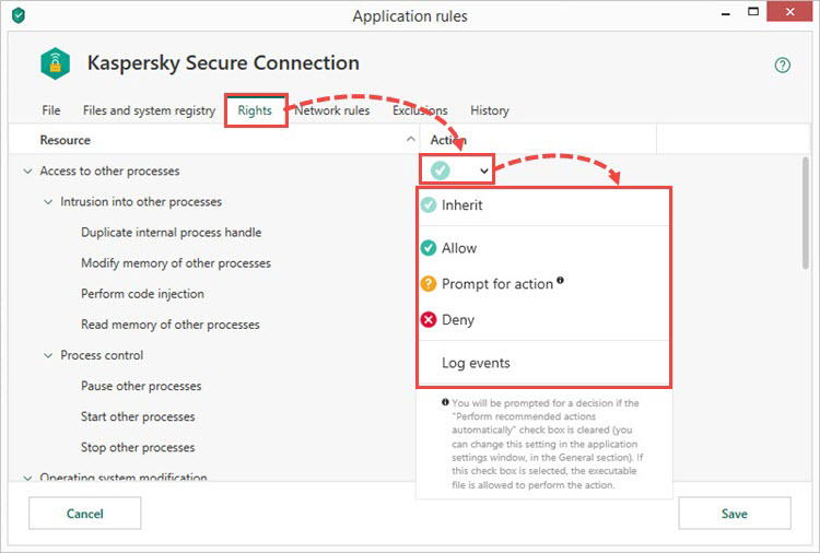 Configuring rights for resources in Kaspersky Total Security 19