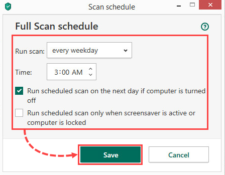 Setting a scan schedule in Kaspersky Security Cloud 20