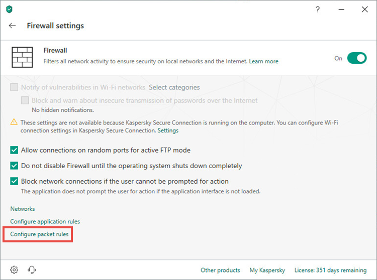 Opening packet rules settings window of Kaspersky Total Security 19