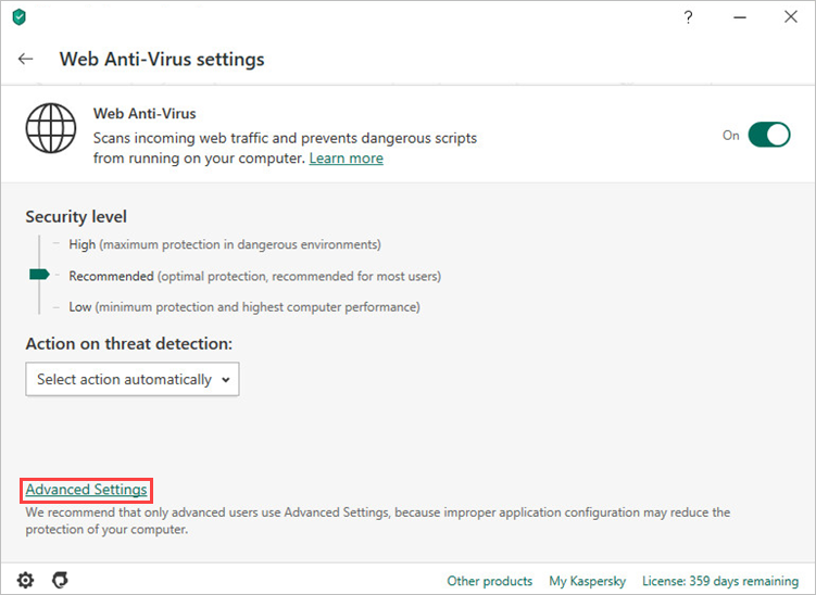 Opening the advanced Web Anti-Virus settings window in Kaspersky Security Cloud 20