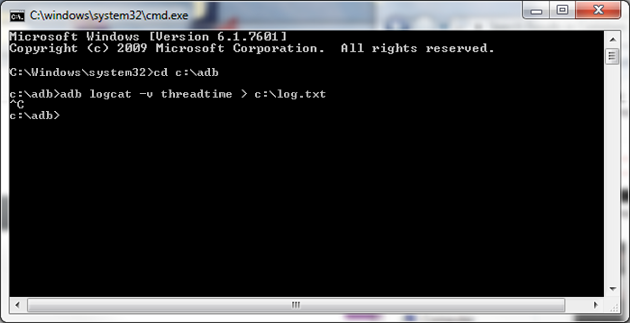 Image: the command line window