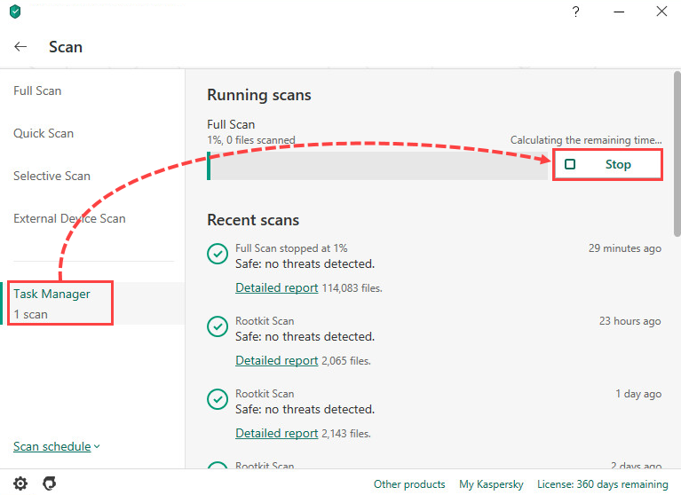 Stopping a scan in Kaspersky Security Cloud 20