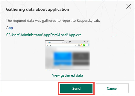 Sending data about an application to Kaspersky Lab with Kaspersky Security Cloud 19