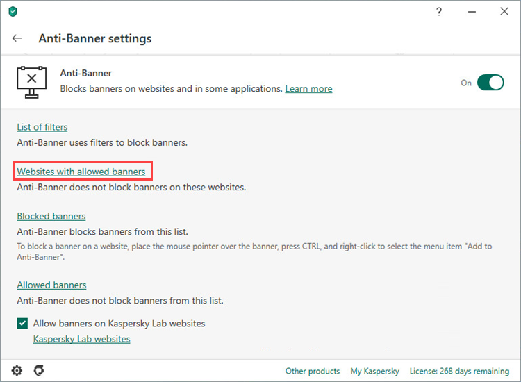 Setting up allowed banners in Kaspersky Internet Security 20