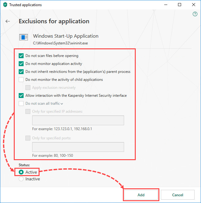 Selecting exclusion settings for an application in Kaspersky Security Cloud 19