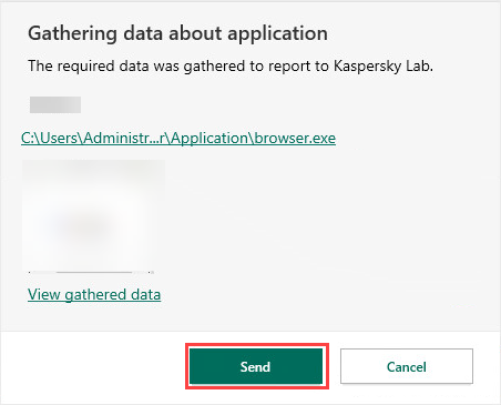 Reporting a problematic application via Kaspersky Security Cloud 20