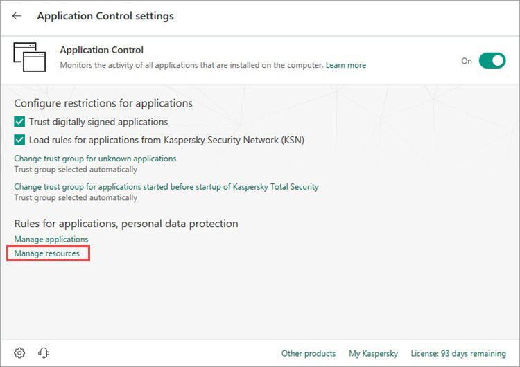 Opening the resources settings window of Kaspersky Total Security 19