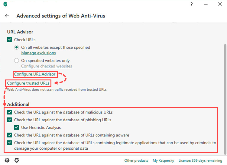Advanced Web Anti-Virus settings in Kaspersky Security Cloud 20