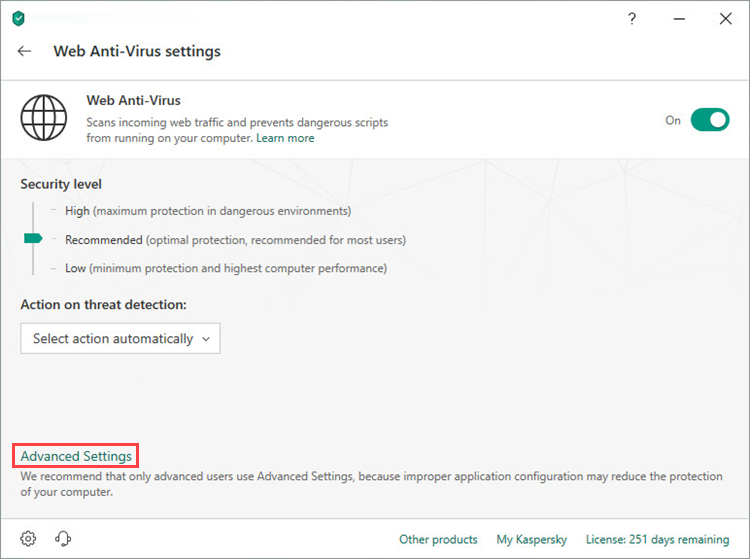 Opening the Advanced settings of Web Anti-Virus window in Kaspersky Security Cloud 19