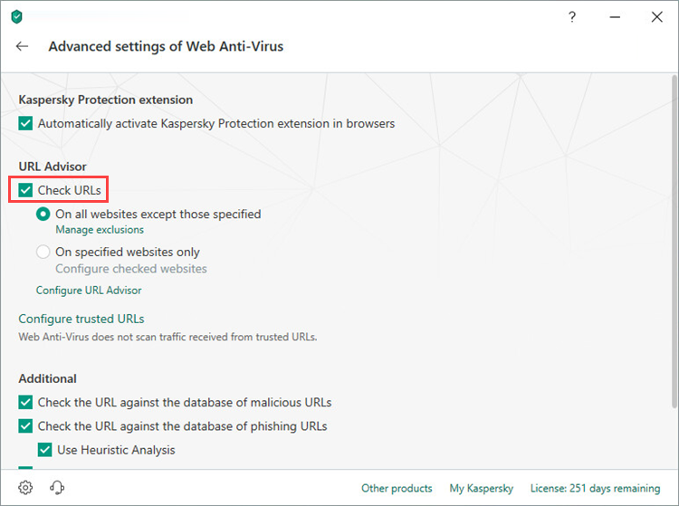Check URLs option in Kaspersky Security Cloud 19