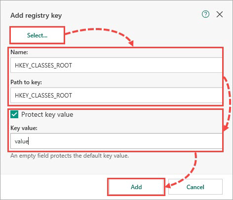 Adding a registry key to a resource in Kaspersky Total Security 19
