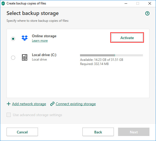 Activating the Dropbox online storage in Kaspersky Security Cloud 20