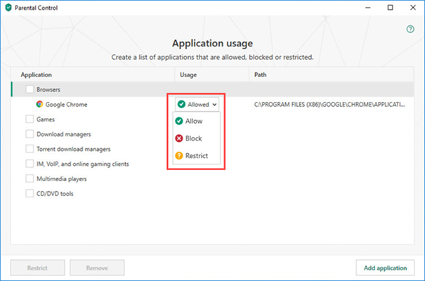 Opening application restriction settings in Kaspersky Total Security 19