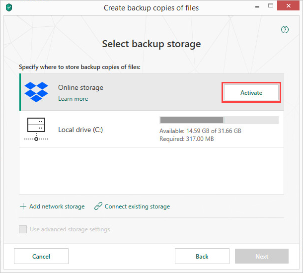 Activating the Dropbox online storage in Kaspersky Security Cloud 19