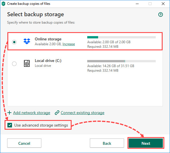 Selecting an online storage for creating file backups in Kaspersky Security Cloud 20
