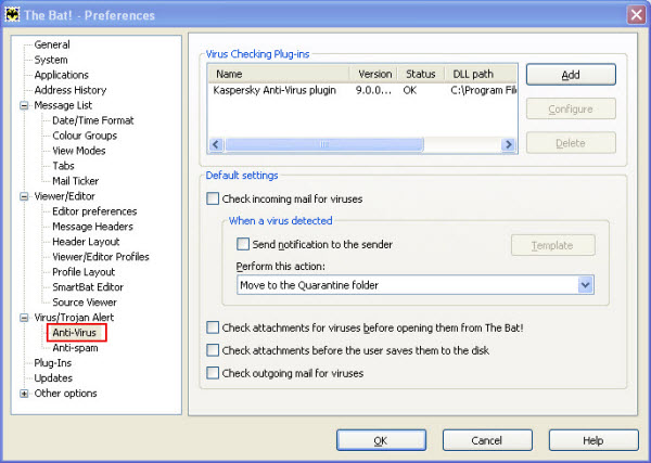 Modules of Mail Anti-Virus from Kaspersky Small Office Security 2