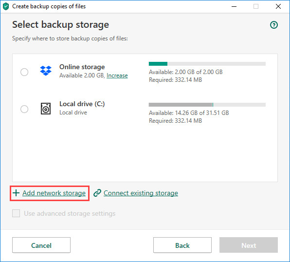 Adding a network storage in Kaspersky Security Cloud 20
