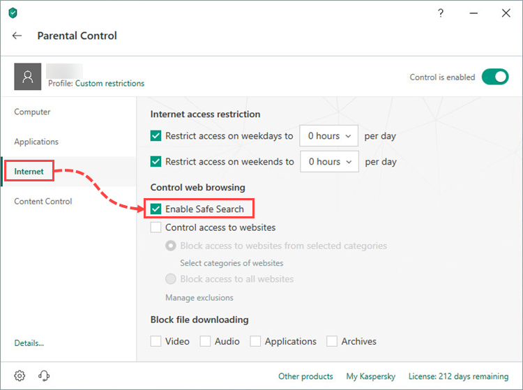 Enabling Safe Search in the Parental Control component of Kaspersky Total Security 19