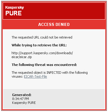 How to send a suspicious link blocked by Kaspersky PURE R2 to Virus Lab?