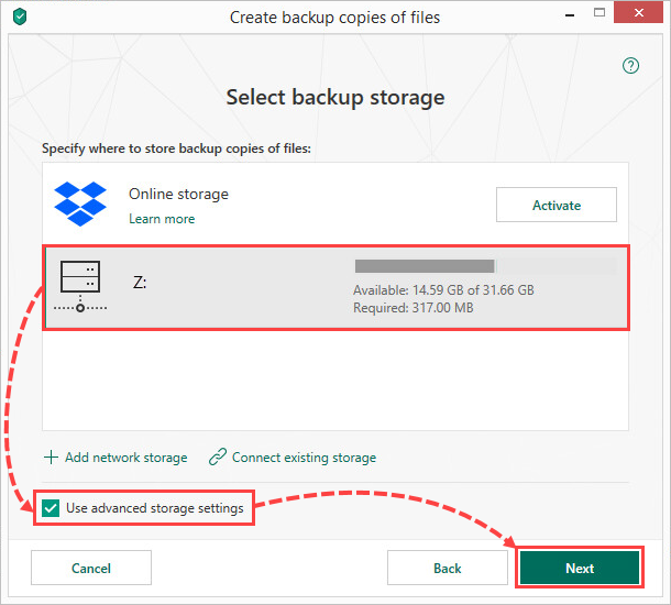 Selecting a network storage for creating file backups in Kaspersky Total Security 19