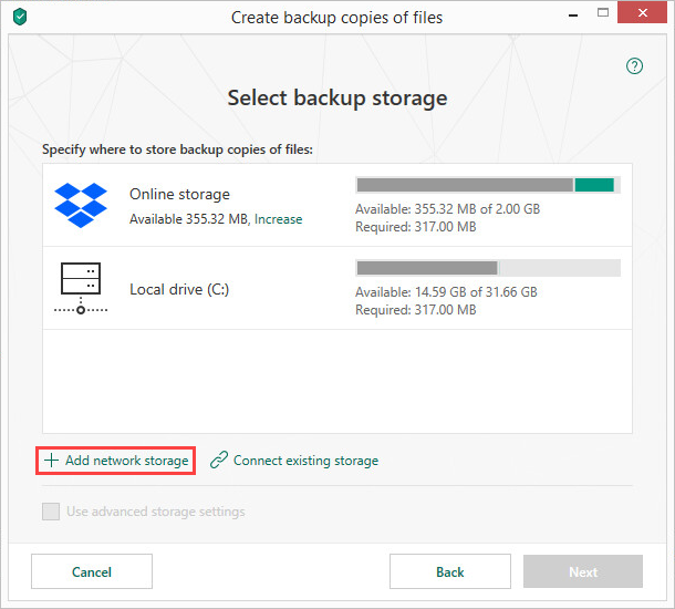 Adding a network storage in Kaspersky Security Cloud 19