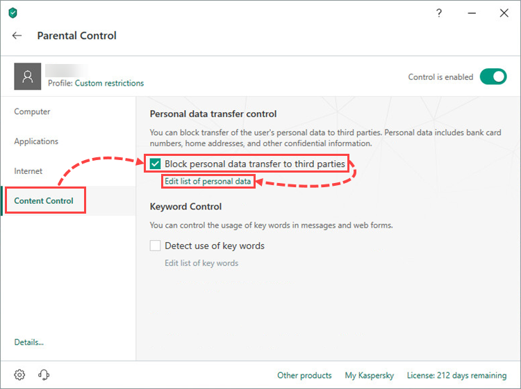 Blocking the transfer of personal data to third parties in Kaspersky Total Security 19