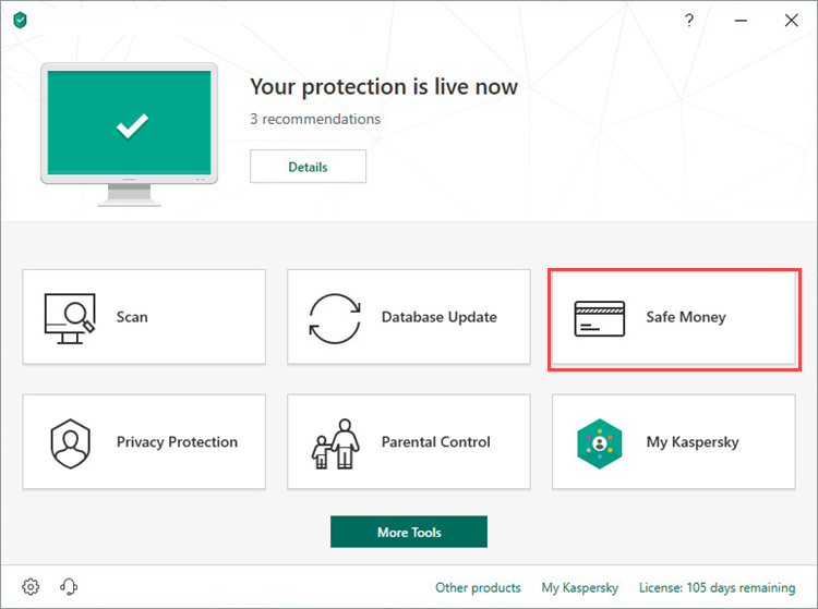 Opening Safe Money in Kaspersky Internet Security 19