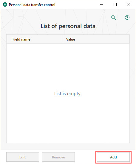 Adding personal data to prevent from being transferred in Kaspersky Total Security 19