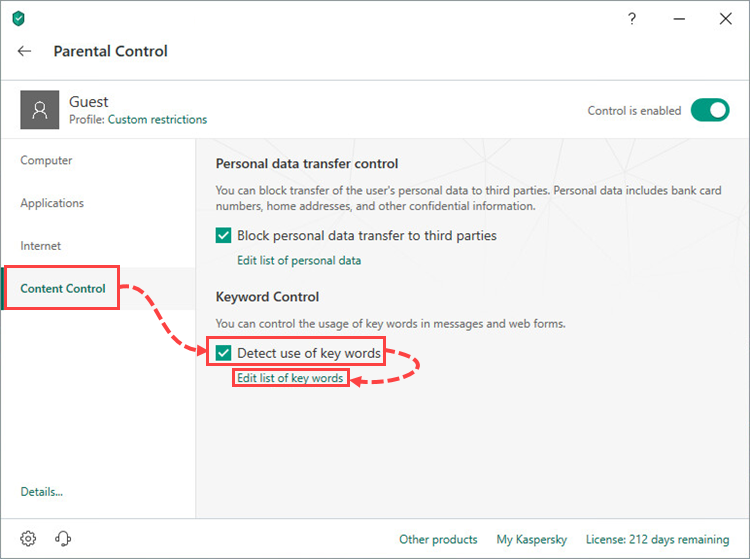 Enabling the detection of key words in the Parental Control component of Kaspersky Total Security 19