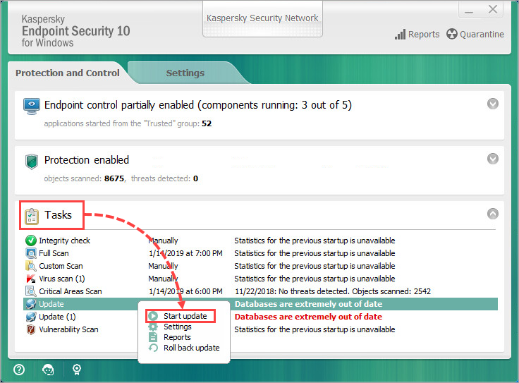 My kaspersky internet security 2012 not updating