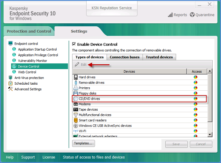 Access to CD/DVD drives via the Device Control component in