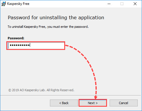 Entering a password for Kaspersky Free removal