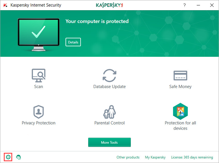 Image: opening the Settings window of Kaspersky Internet Security 2018