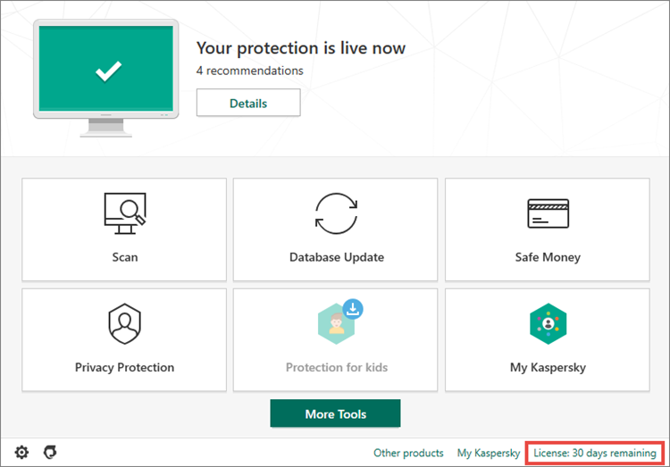 Opening the Licensing window of Kaspersky Internet Security 20