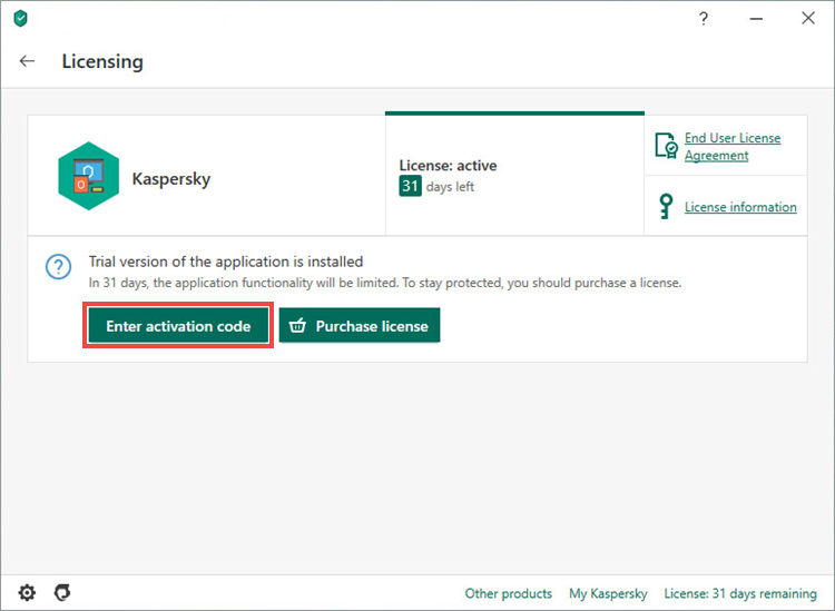 Entering the activation code in Kaspersky Internet Security