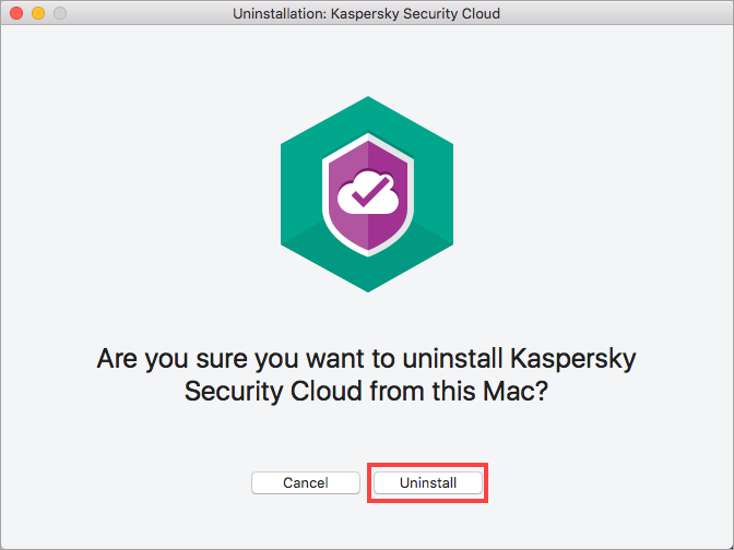 Image: the confirmation window for uninstallation of Kaspersky Security Cloud for Mac