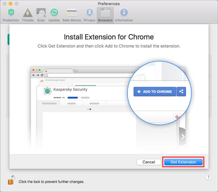 Image: how to enable Kaspersky Security extension in Google Chrome