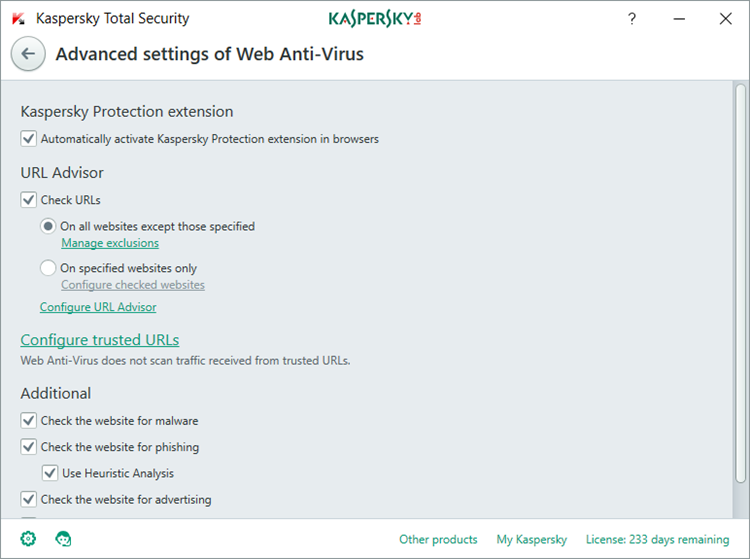 Image: Advanced settings of Web Anti-Virus window in Kaspersky Total Security 2018