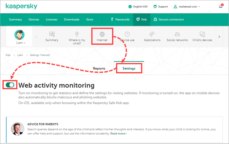 Enabling Web activity monitoring in My Kaspersky