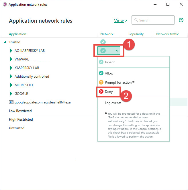 Image: the Network rules window of Kaspersky Security Cloud