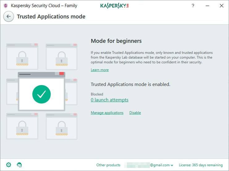 Image: the Trusted Applications mode window in Kaspersky Security Cloud