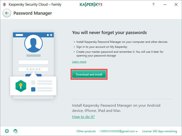 Image: the Password Manager window in Kaspersky Security Cloud