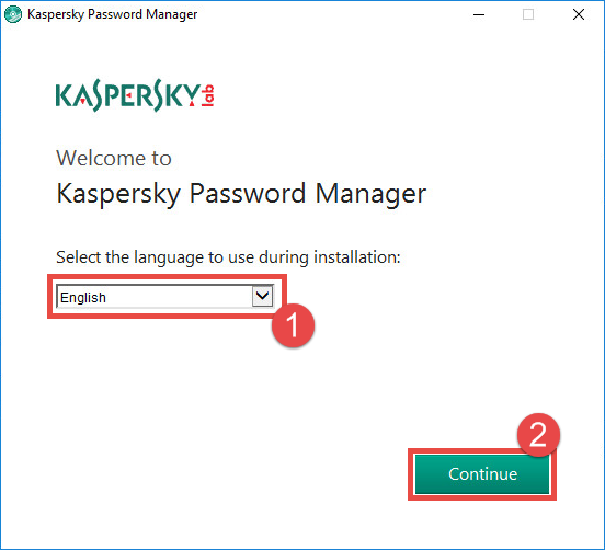 Image: selecting the language for Kaspersky Password Manager
