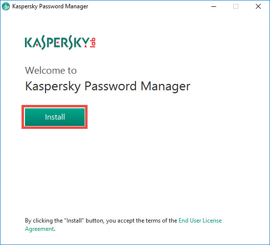 Image: the installation wizard of Kaspersky Password Manager