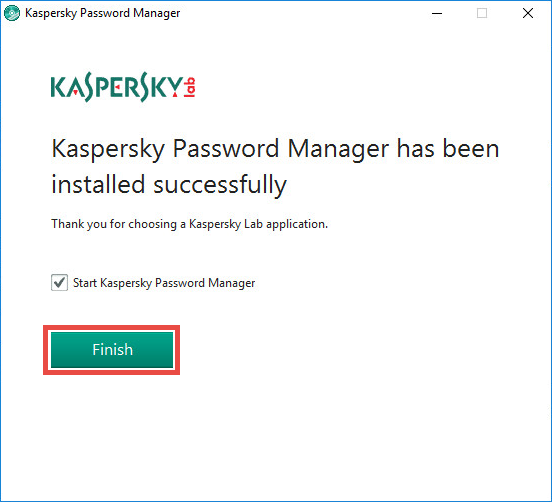 Image: installation of Kaspersky Password Manager is finished