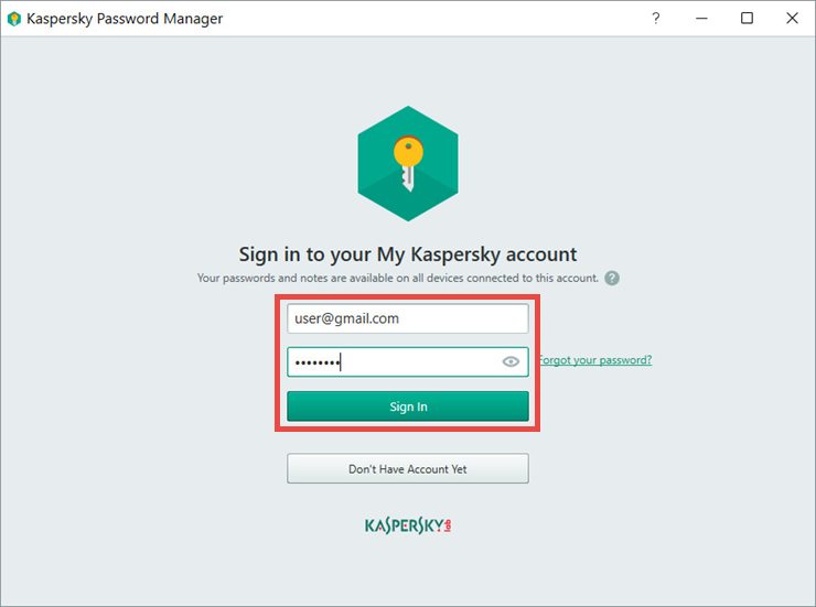 Image: connecting Kaspersky Password Manager to My Kaspersky