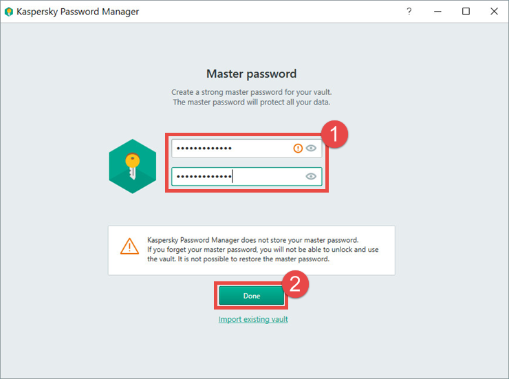 Image: setting a master password in Kaspersky Password Manager